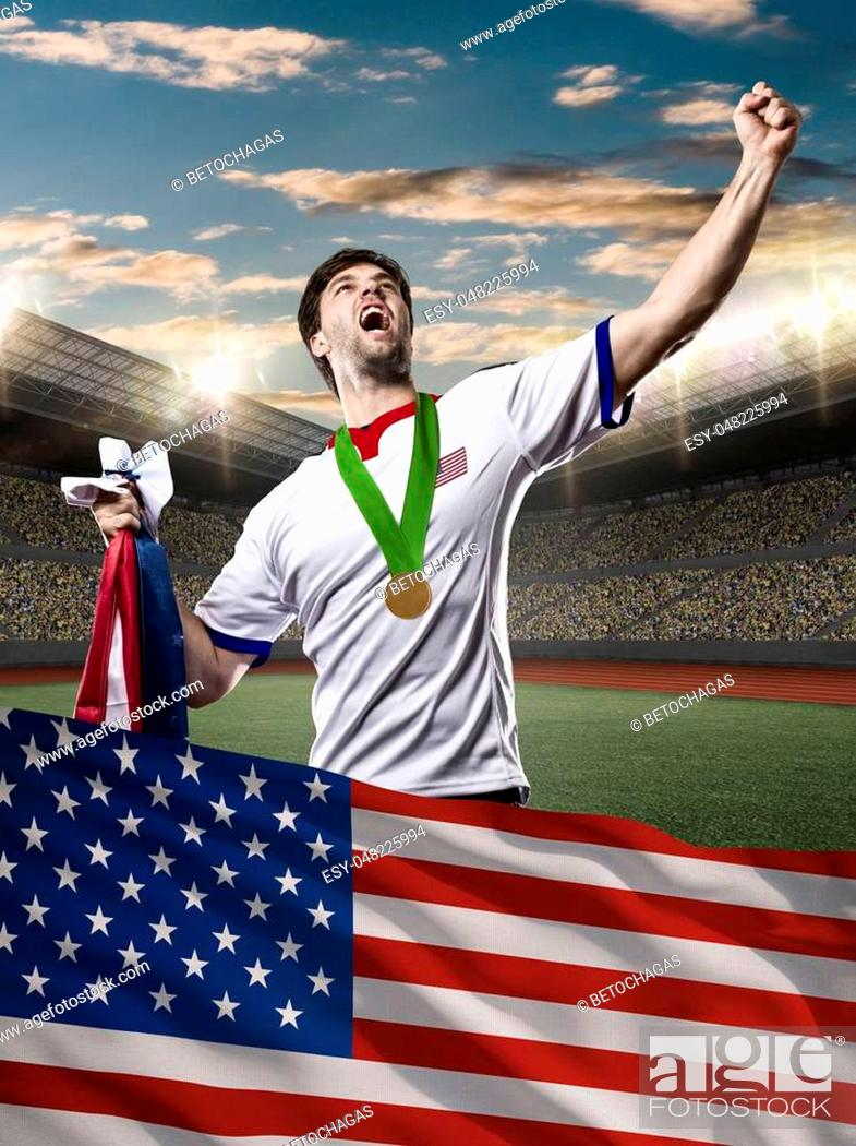 Photo de stock: American Athlete Winning a golden medal with a american flag in front.