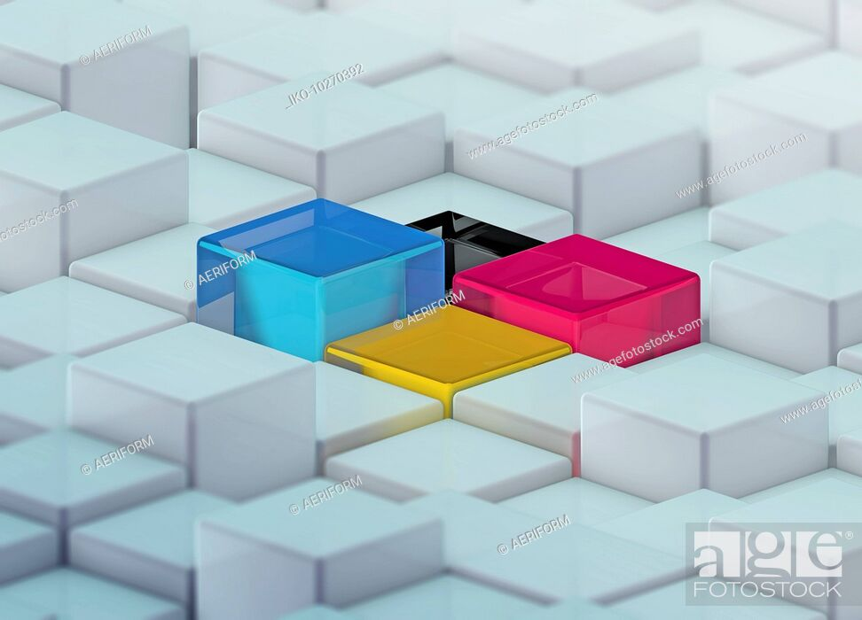 Stock Photo: CMYK colored cubes standing out from uneven surface pattern.