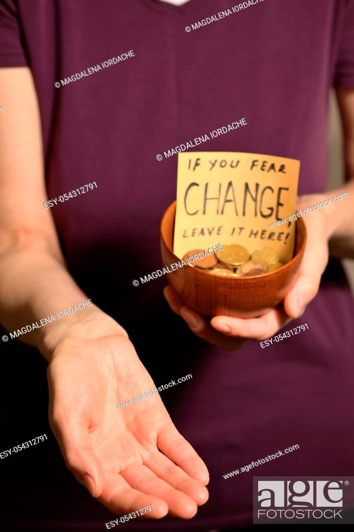 Stock Photo: Bowl With Coins With Conceptual Sign.