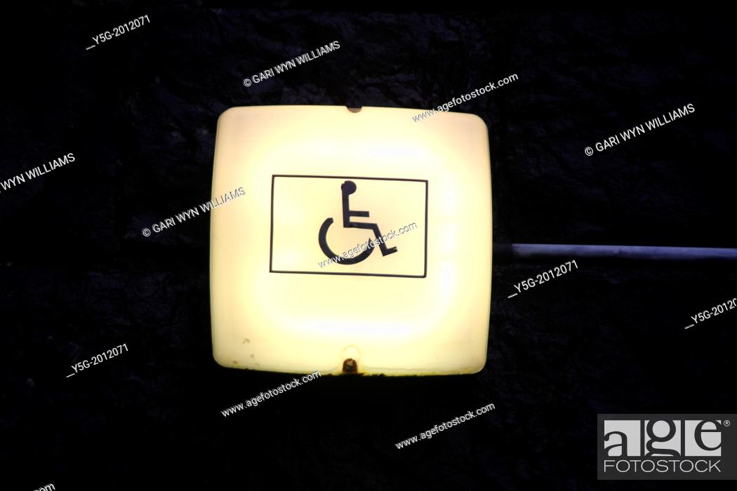 Stock Photo: disabled sign on lamp in wales great britain uk.