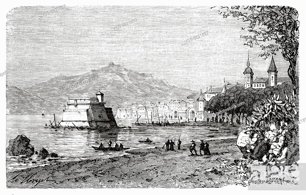 Stock Photo: Panoramic overview of the city of Toulon, Var. France. Old 19th century engraved illustration from Histoire de la Revolution Francaise 1876 by Jules Michelet.