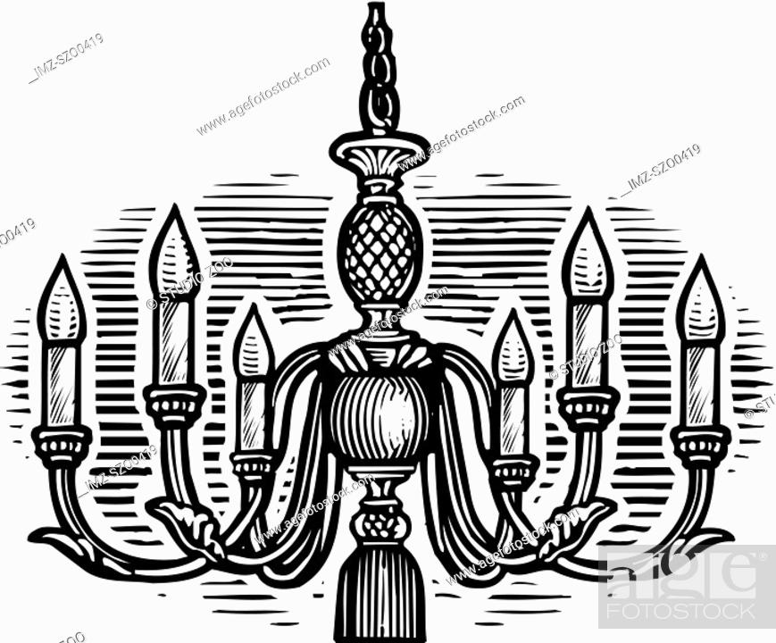 Stock Photo: Oval shaped picture of a chandelier, black and white.