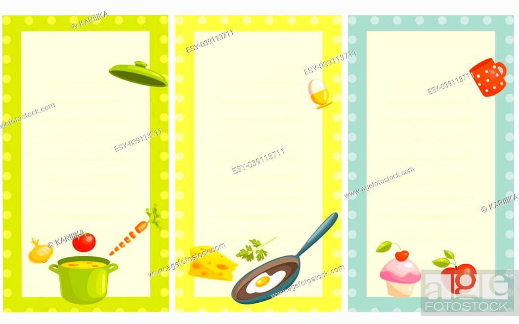 Stock Photo: set of old fashioned recipe card , illustration.