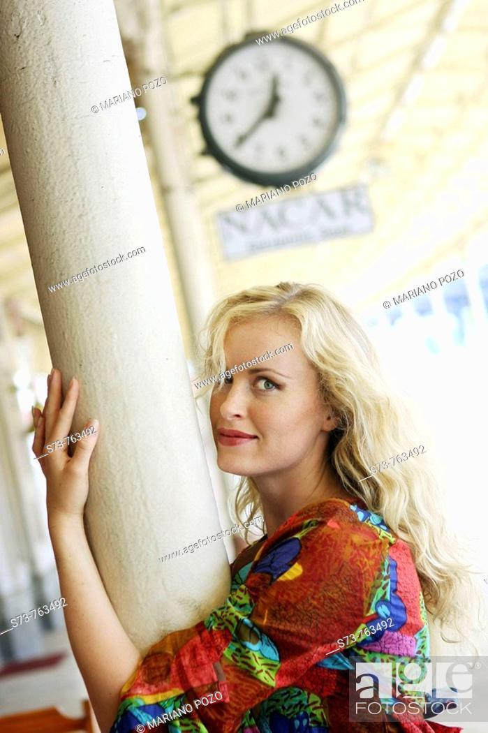 Stock Photo: 30 year old woman at Sirkeci railway station, Istanbul. Turkey.