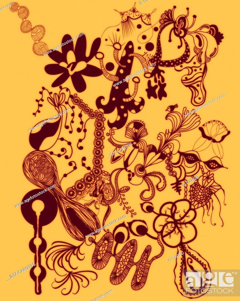 Stock Photo: Orange abstract and floral shapes.