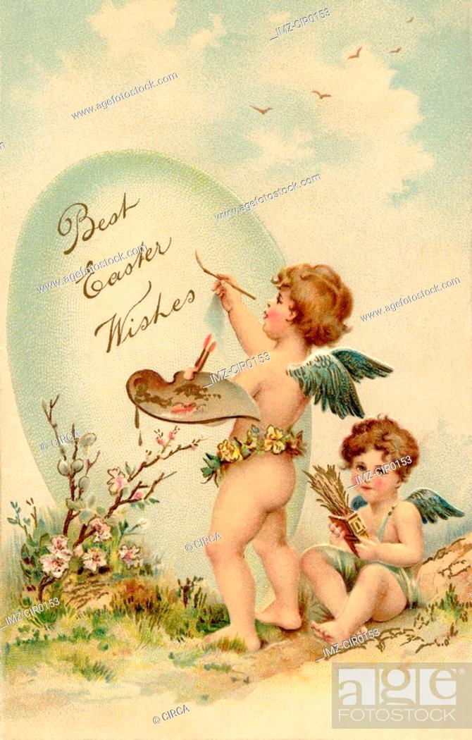 Stock Photo: A vintage Easter postcard of two cherubs painting an Easter egg.