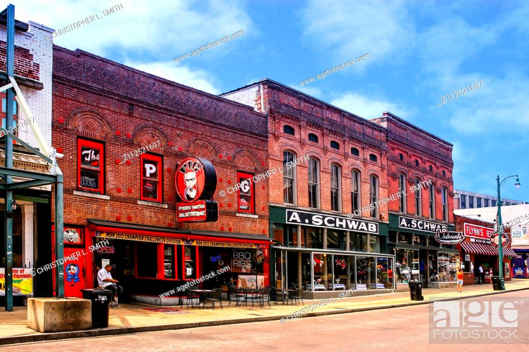 Stock Photo The Pig And A Schwab Just Two Of Many Clubs Restaurants On Beale Street In Downtown Memphis Tennessee