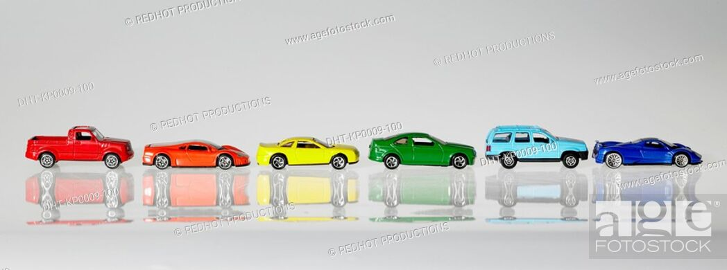 Stock Photo: Panoramic Colours, Coloured Model Cars.
