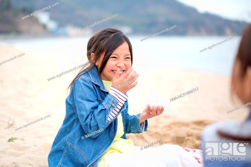 Stock Photo: Children Playing Seashore.