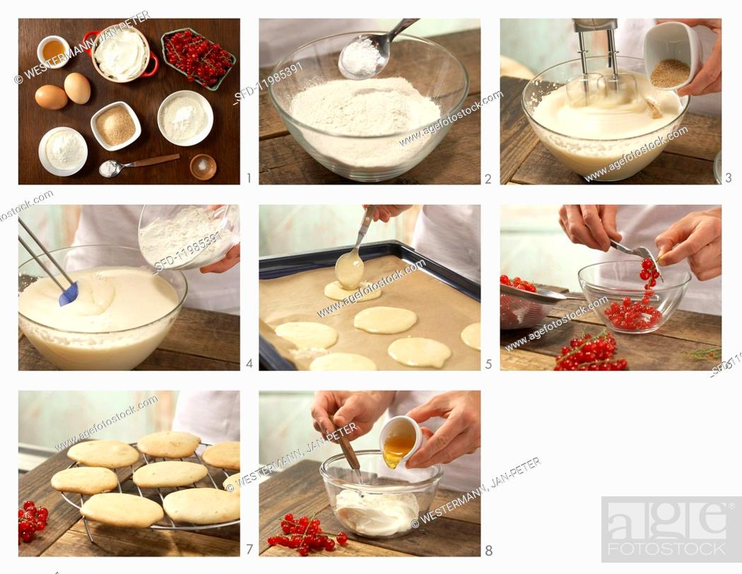 Stock Photo: How to prepare sweet buckwheat biscuits with quark and redcurrants.