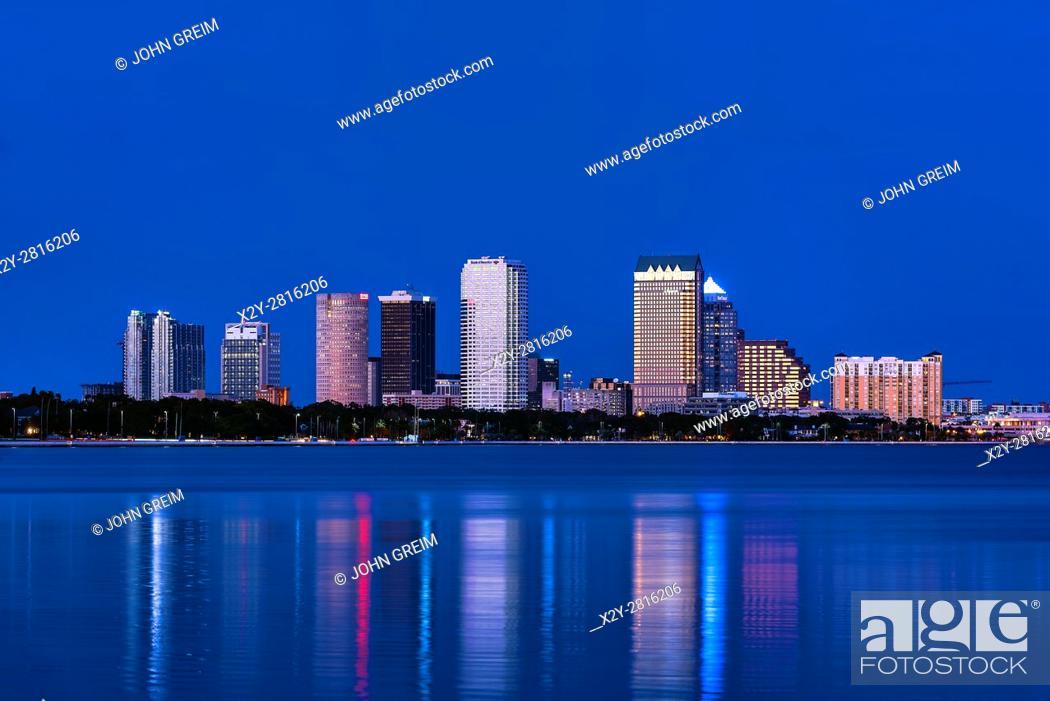Stock Photo: Tampa skyline across Hillsborough Bay, Tampa, Florida, USA.