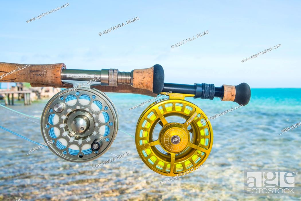 Stock Photo: Saltwater fly fishing fly rod and reel an the beach in Caribbean sea - los roques.
