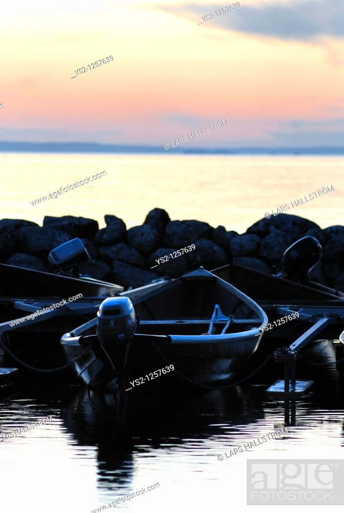 Stock Photo: Boat at lake Vättern, Östergötland, Sweden, Europe.