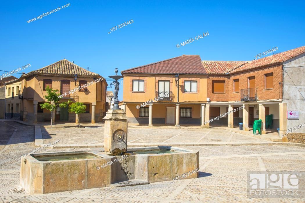 Stock Photo: Plaza Mayor. Moron de Almazan, Soria province, Castilla Leon, Spain.