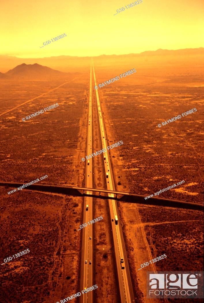 Stock Photo: Highway From Phoenix to Tuscon Arizona.