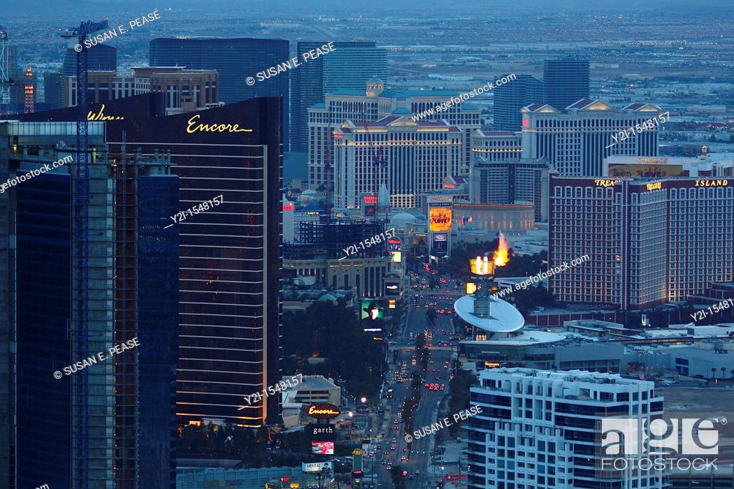 Stock Photo: A view of Las Vegas casinos from the top of the Stratosphere Tower  Las Vegas, Nevada, United States.
