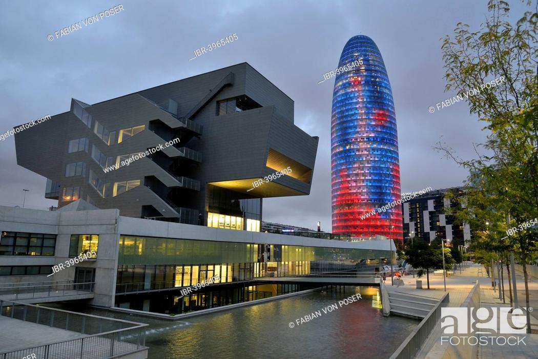 Stock Photo: Torre Agbar, architect Jean Nouvel, at dusk, Avinguda Diagonal, Barcelona, ??Catalonia, Spain.