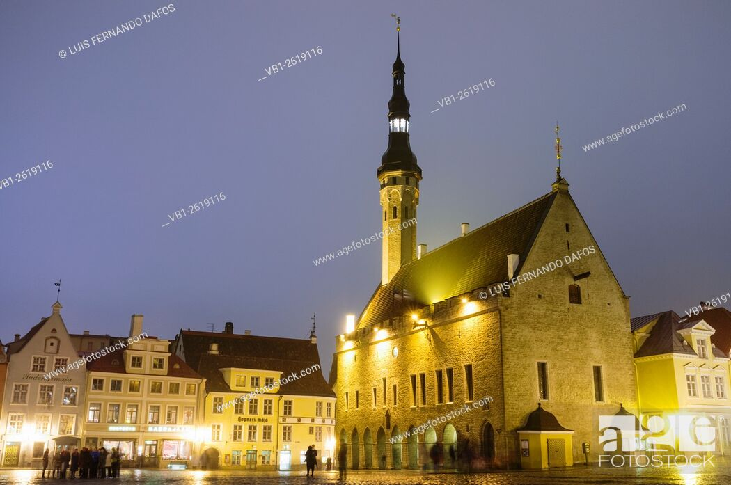 Stock Photo: Town Hall and Old Town Square at night. Tallinn, Estonia.