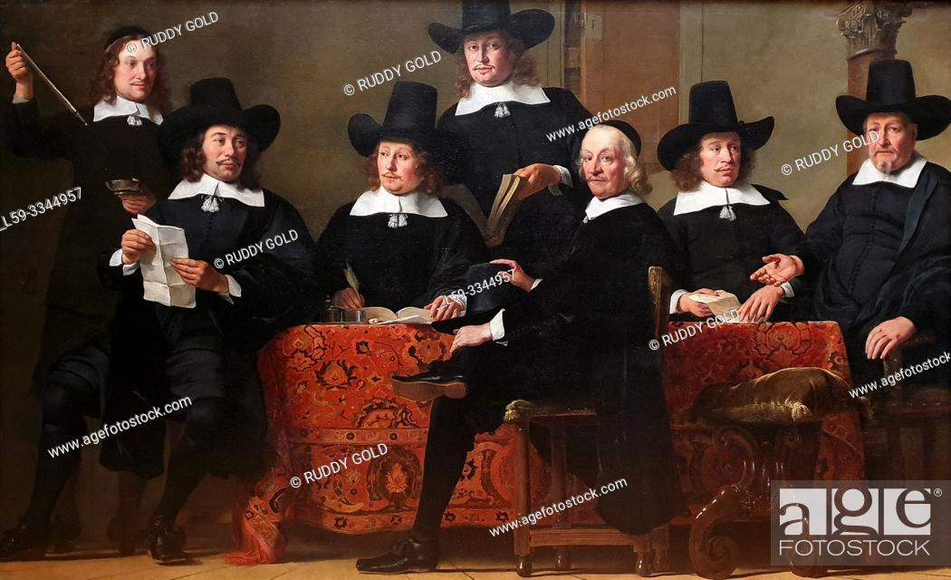 Stock Photo: 'The Governors of the Amsterdam Wine Merchant's Guild', 1659, Ferdinand Bol (1616-1680).