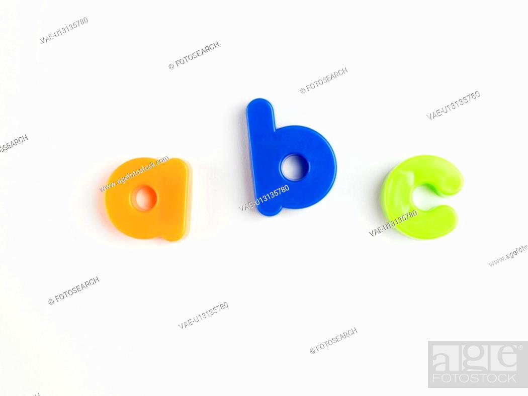 Stock Photo: A B C' in magnetic letters close-up.