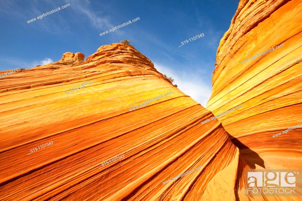 """Stock Photo: Vermilion Cliffs Wilderness Area of northern Arizona, USA. The area is called North Coyote Buttes, and this specific rock formation is called """"the wave""""."""