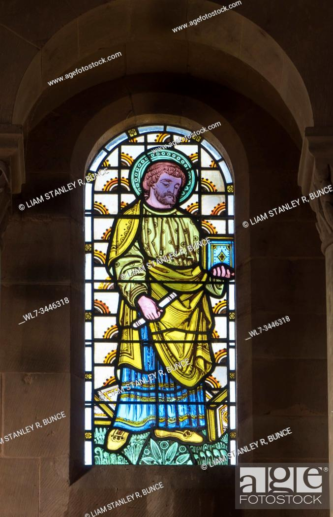 Stock Photo: Stained glass depiting a Prophet or Patriarch from the Old Testament, St Catherine church Hoarwithy Herefordshire UK. February 2019.