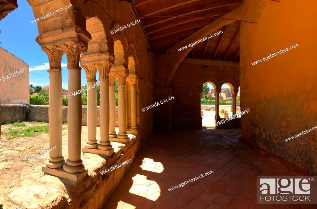 Stock Photo: Atrium of Nuestra Señora de la Asuncion church. Sauca, Guadalajara province, Castilla La Mancha, Spain.