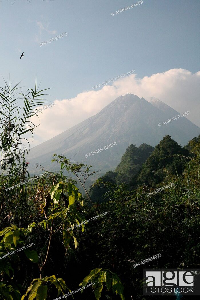 Imagen: Indonesia Central Java Jogjakarta Mount Merapi National Park Mount Merapi, one of the most active, and dangerous volcanoes in the world, seen from Kaliurang.