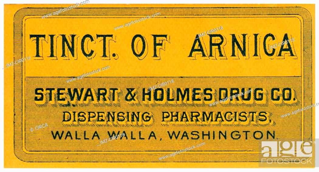 Stock Photo: A vintage medical tincture label.