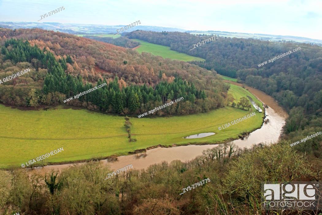 Stock Photo: Wye valley from Symonds Yat Gloucestershire, England, Great Britain, Uk, Gb.