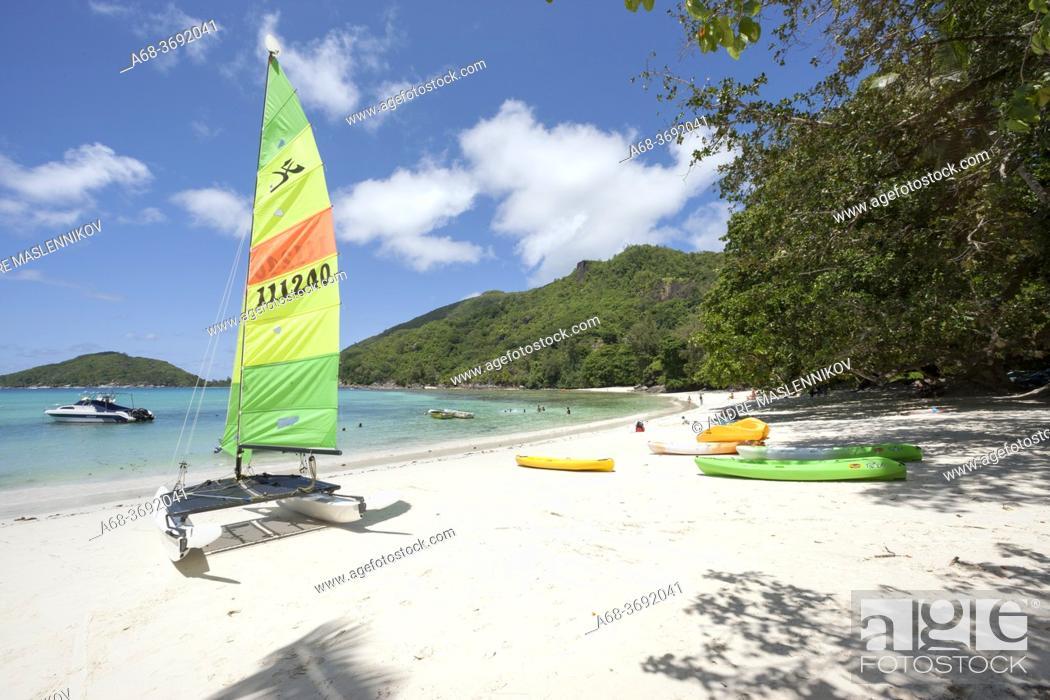 Stock Photo: Beach at Baie Ternay Marine National Park on the west coast of Mahé island, Seychelles.
