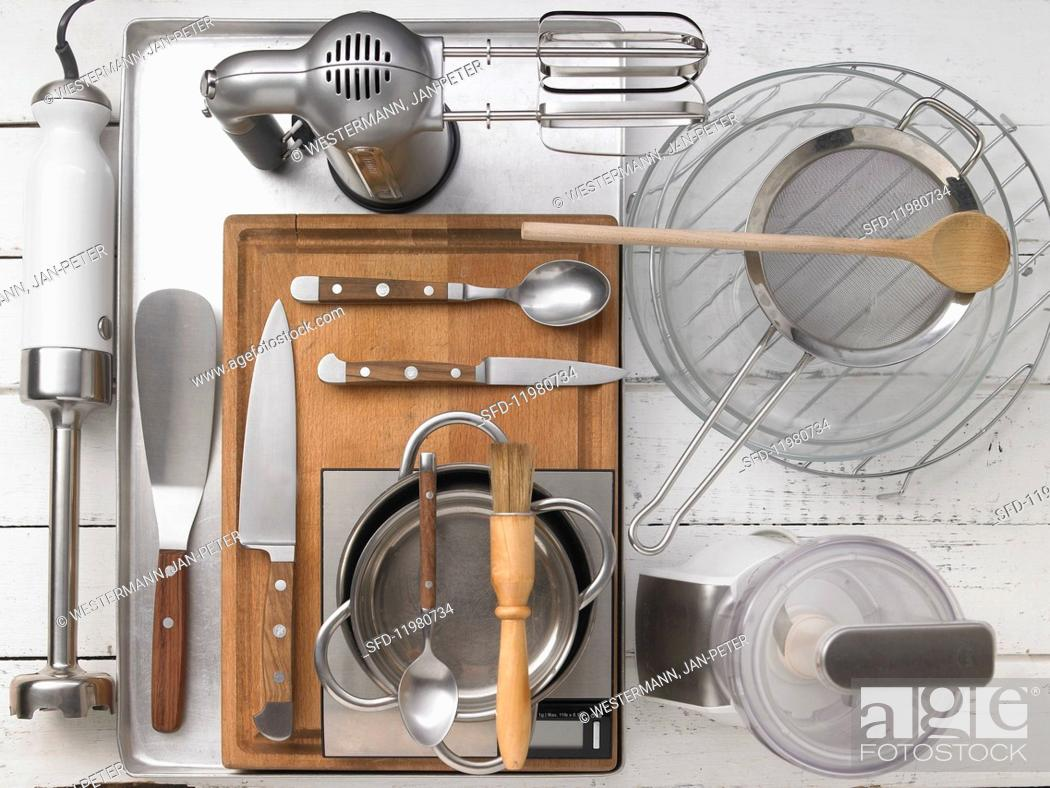 Stock Photo: Kitchen utensils required for the recipe.