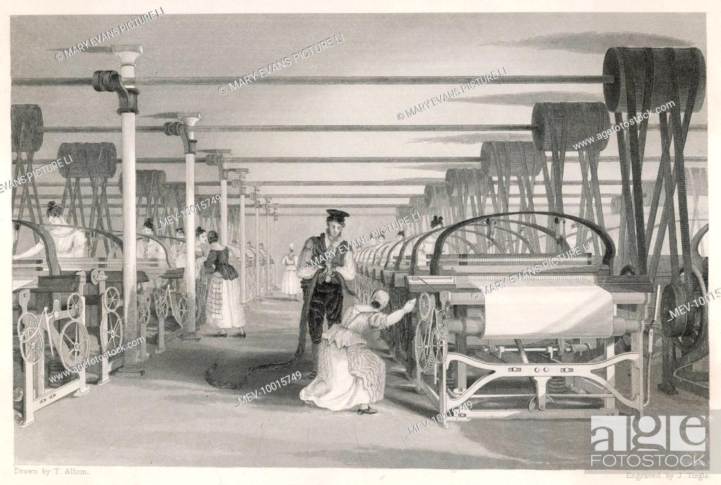 Interior of cotton mill in Lancashire: power loom weaving- man and