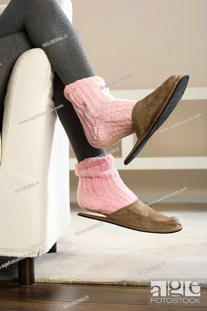 Stock Photo: Feet of woman.