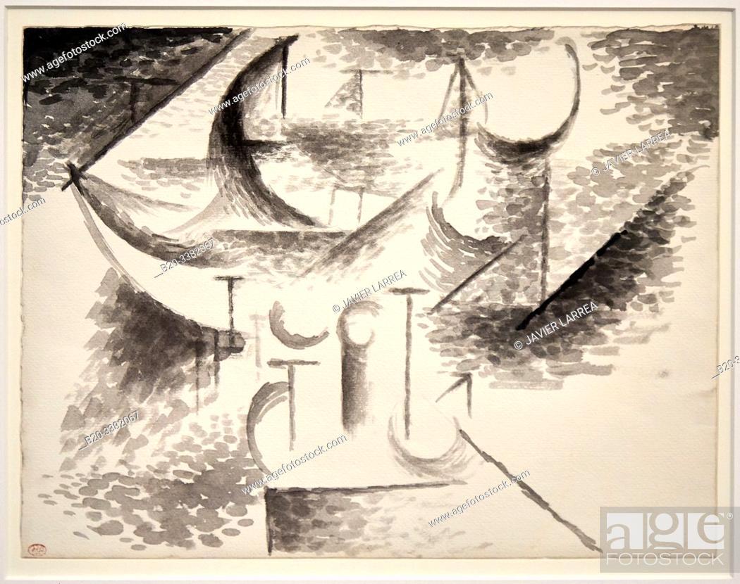 """Stock Photo: """"Études de barque"""", 1910, Pablo Picasso, Picasso Museum, Paris, France, Europe."""