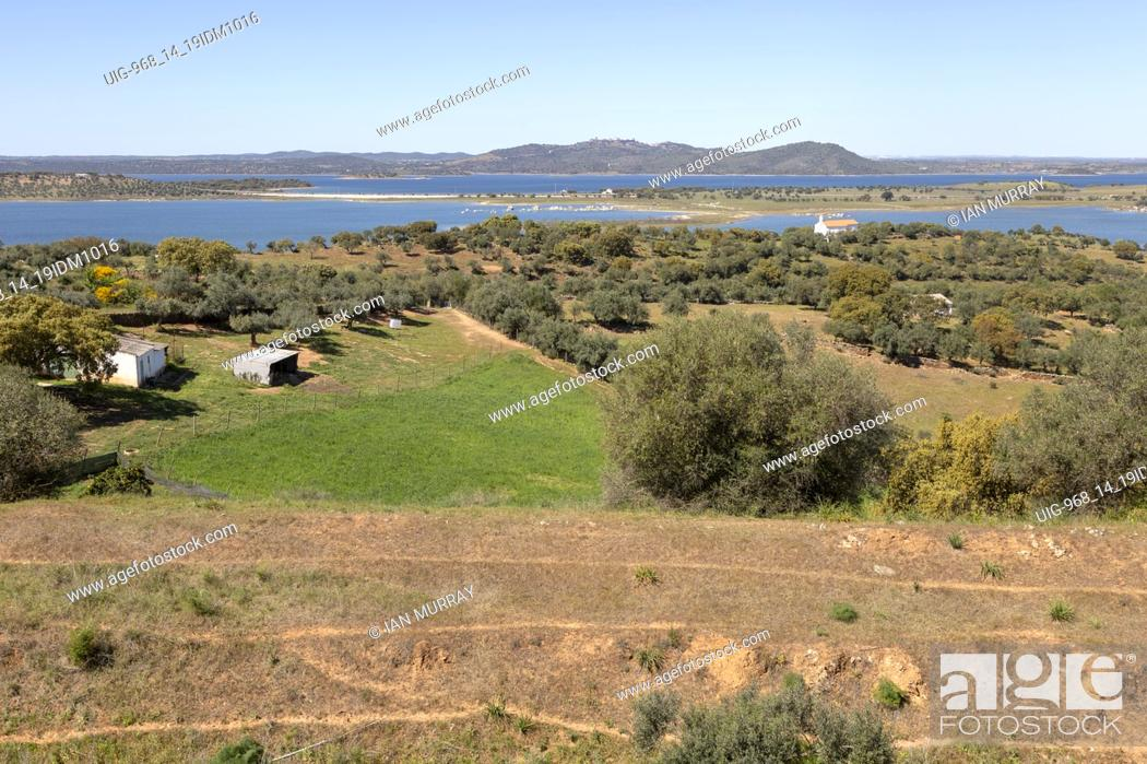 Stock Photo: Landscape view northwards towards hills and Monsaraz from Mourão , Alentejo Central, Evora district, Portugal, southern Europe.