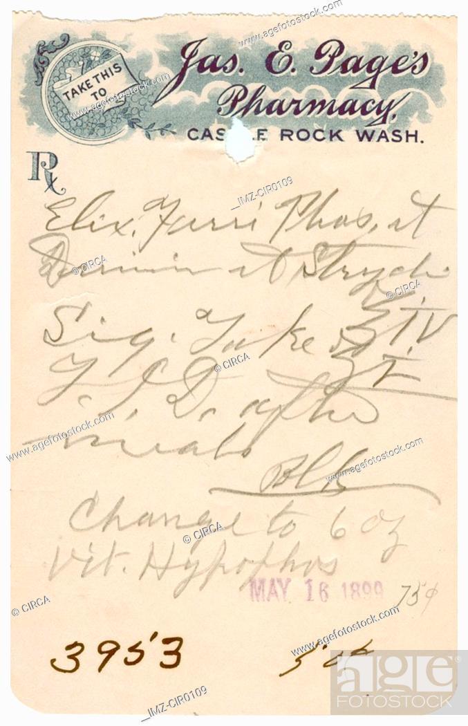 Stock Photo: A vintage medical prescription.