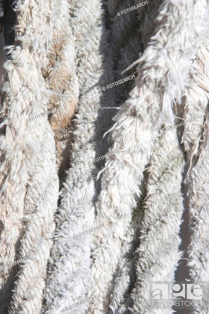 Stock Photo: ropes, braided, dock, industrial, random, detail.