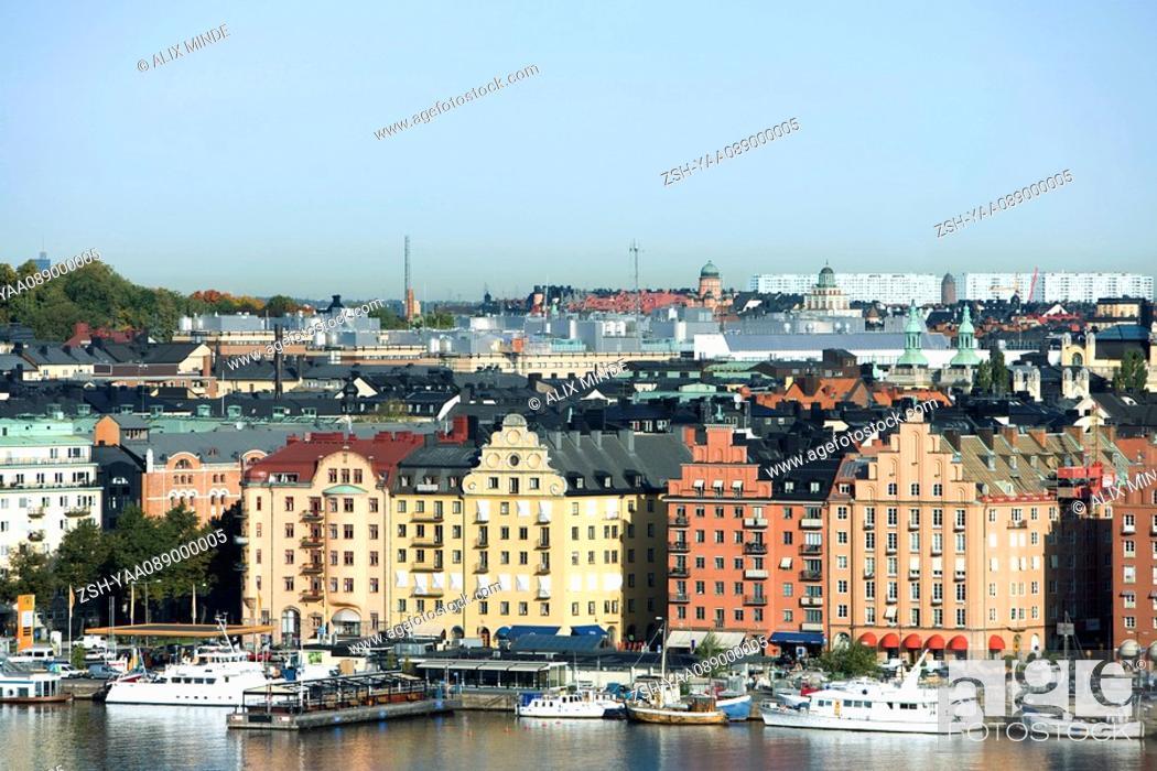 Stock Photo: Sweden, Stockholm, Gamla Stan, waterfront view.
