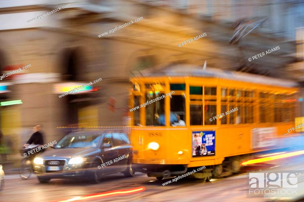 Photo de stock: Tram , Milan, Italy.