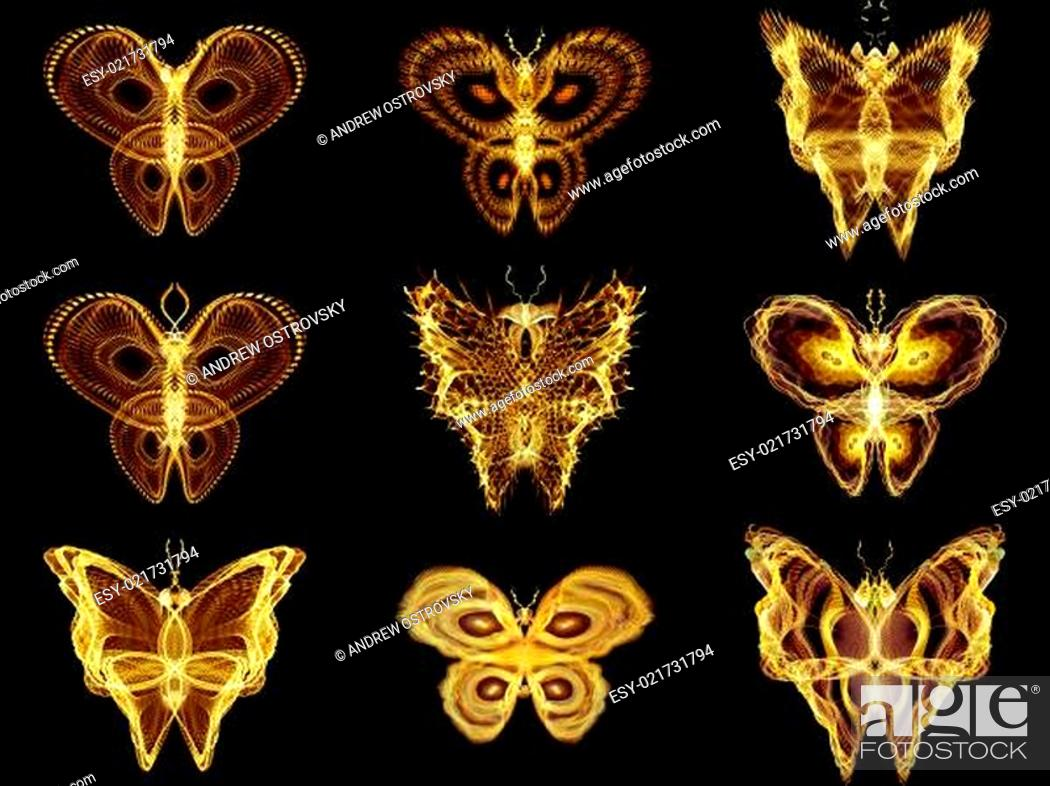 Stock Photo: Collection of Fractal Butterflies.