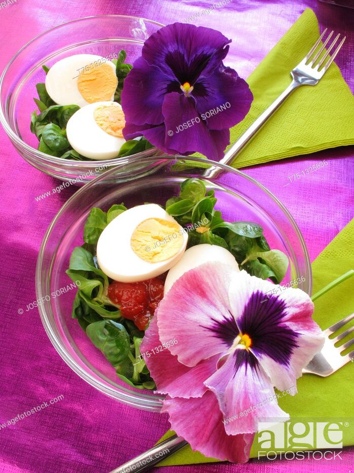 Stock Photo: Salad with flowers and petals thoughts.