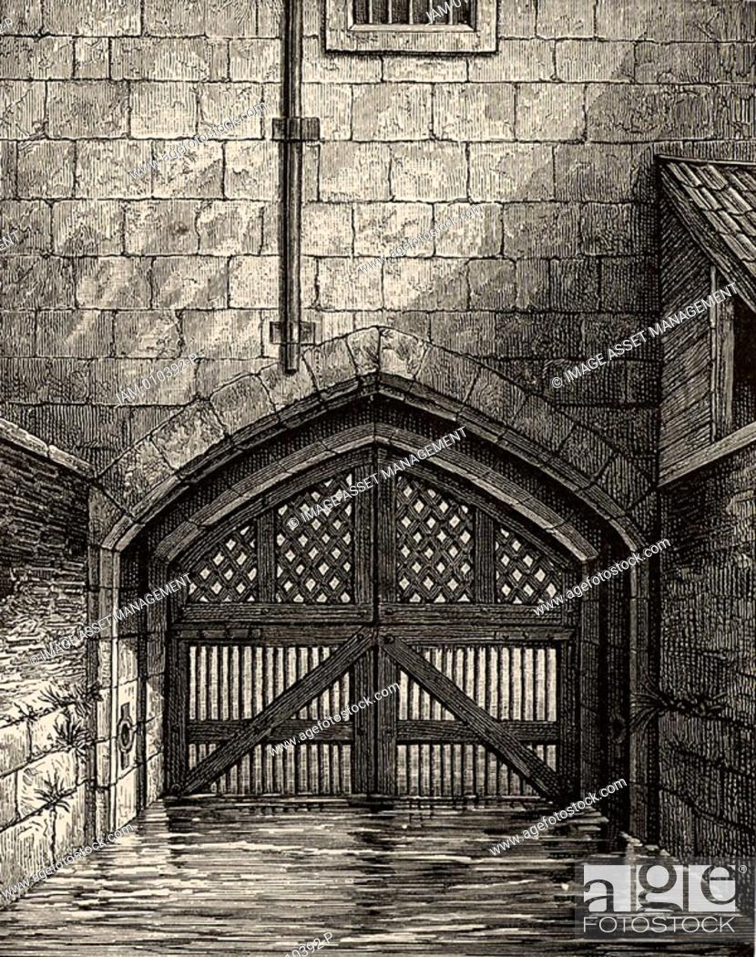 Stock Photo: The Tower of London: Traitor's Gate, the water gate from the River Thames through which many prisoners, including Elizabeth I.