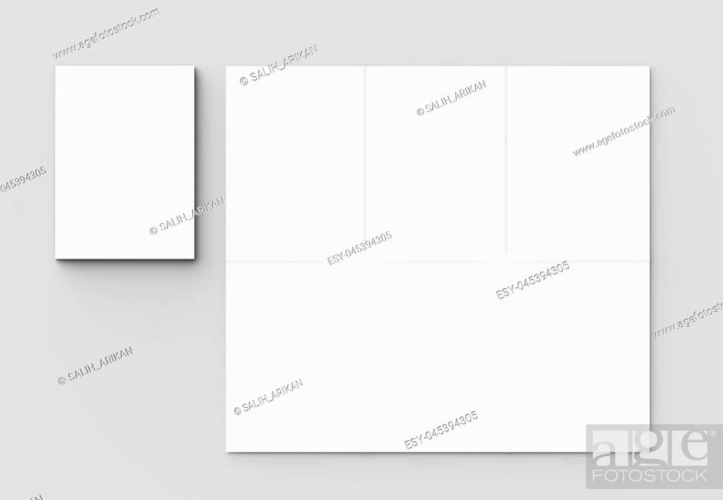Stock Photo: 12 page leaflet - French fold vertical brochure mock up isolated on soft gray background. 3D illustrating.