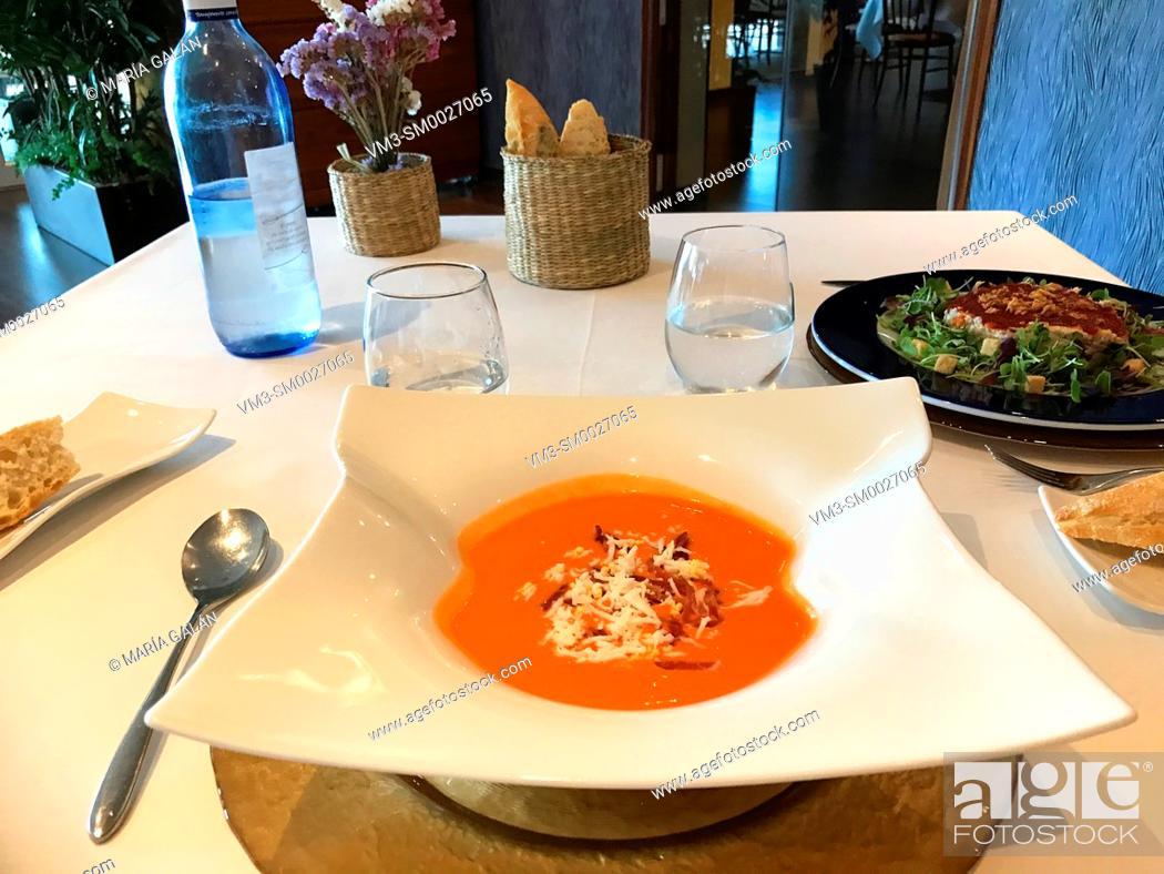 Stock Photo: Salmorejo serving in a restaurant. Spain.