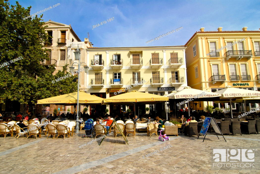 Stock Photo: Central square of Nafplio, Peloponnese, Greece, Europe.