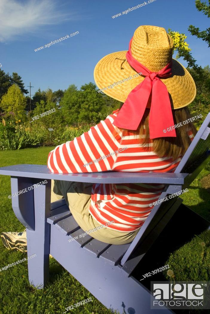 Stock Photo: Garden bench, Schreiners Iris Gardens, Keizer, Oregon.