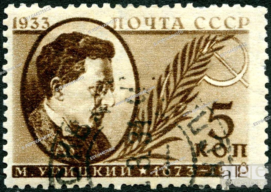 Stock Photo: USSR - CIRCA 1933: A stamp printed in USSR shows Moisei Solomonovich Uritsky (1873-1918), Russian revolutionary, circa 1933.