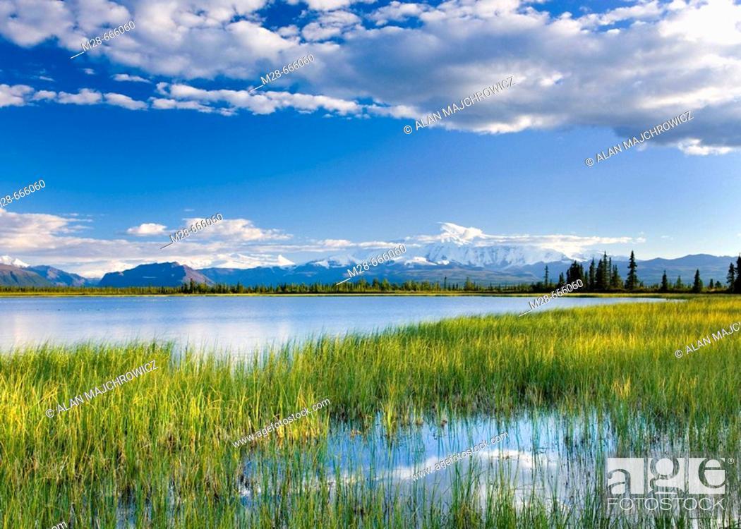 Stock Photo: Small lake in Wrangell-St. Elias National Park, Alaska, USA.