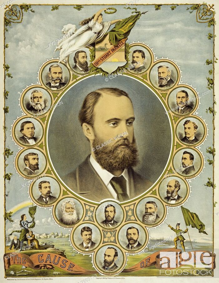Stock Photo: A poster from 1891, printed in America, supporting the Irish demand for Home Rule. At the centre is a portrait of the Irish Nationalist politician Charles.